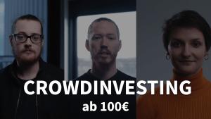 Kampagnenbild mit Sebastian Eßfeld, Max Erdmann und Saskia te Marveld: Vaira Crowdinvesting ab 100€.