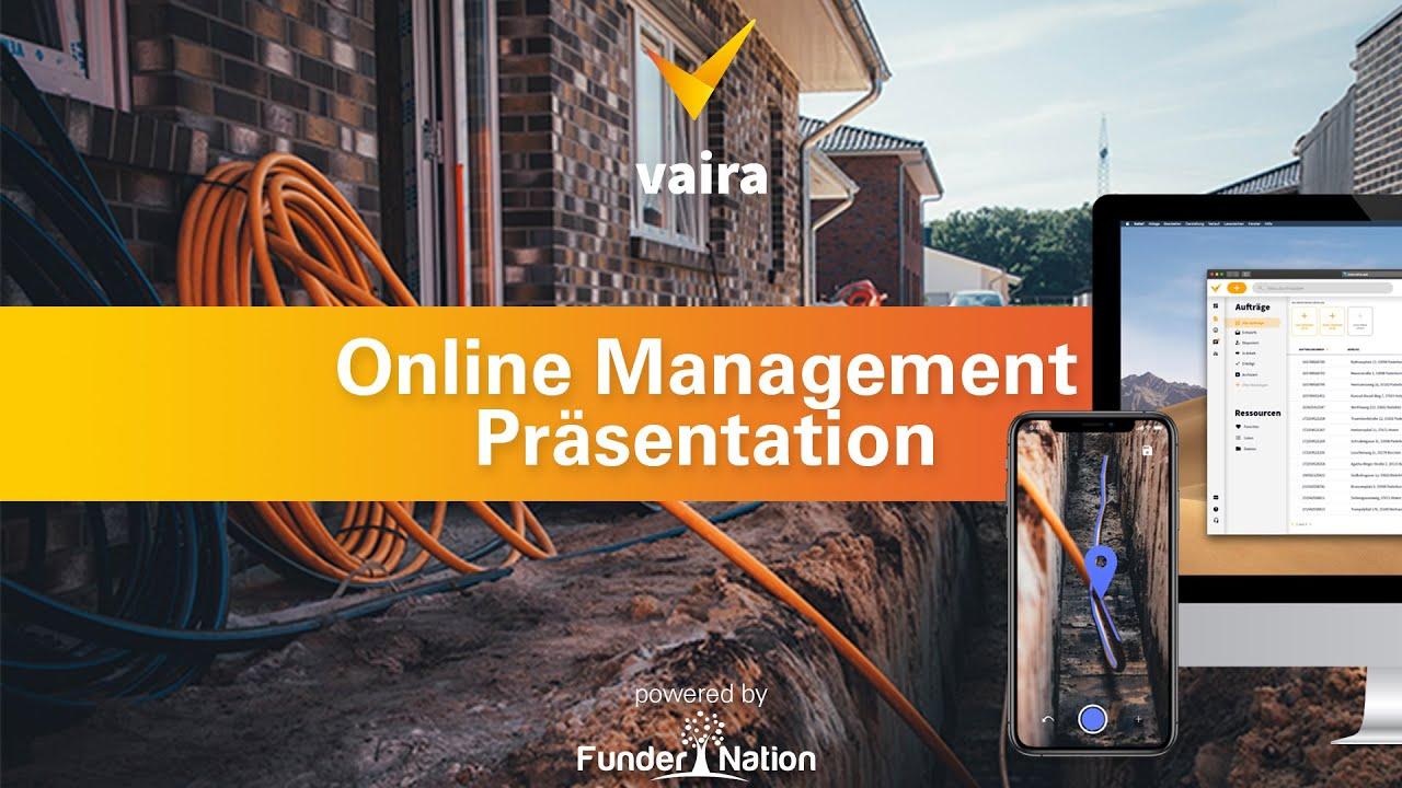 Baustellen-Foto mit Vaira Office und Vaira App und dem Titel der Veranstaltung.