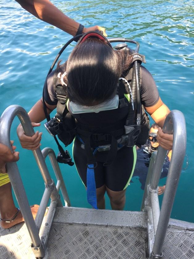 sea diving in deep blue sea