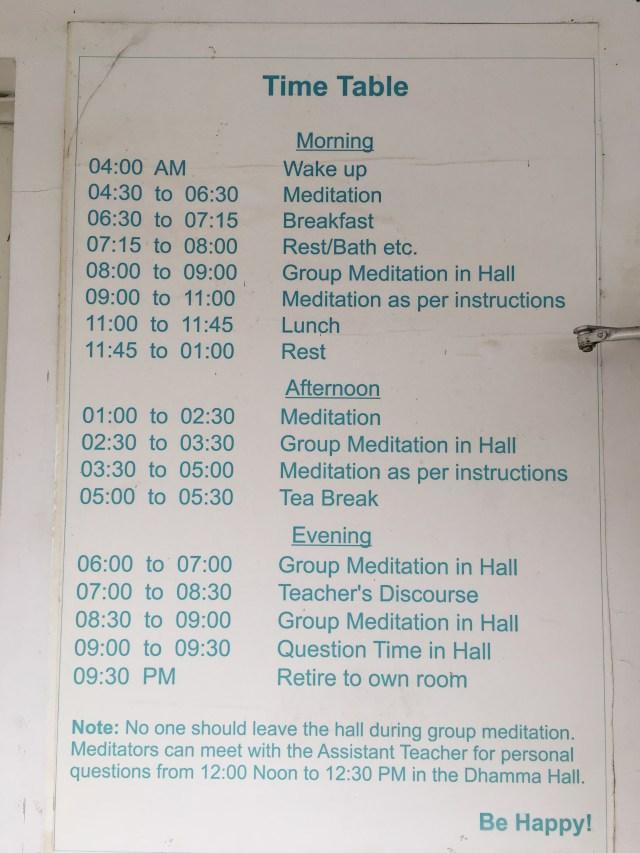 Breakfast Timetable