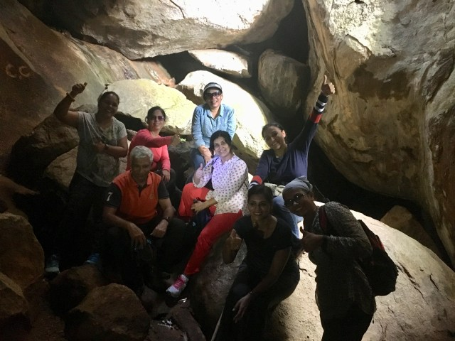 Trekking in Narrow cave