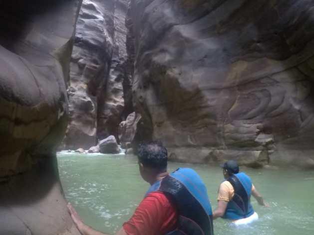 enjoying waterfalls
