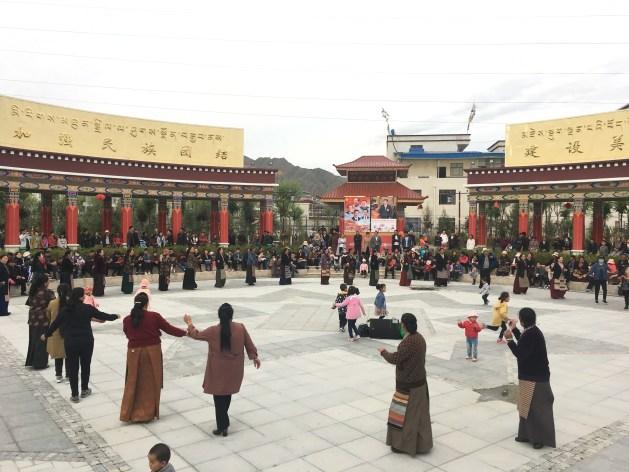 Community dance at Park at Shigatse