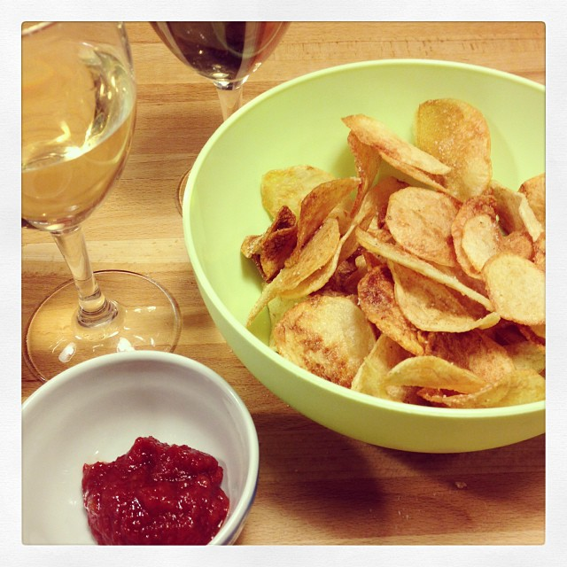 Home made chips with home made ketchup #junkfoodies