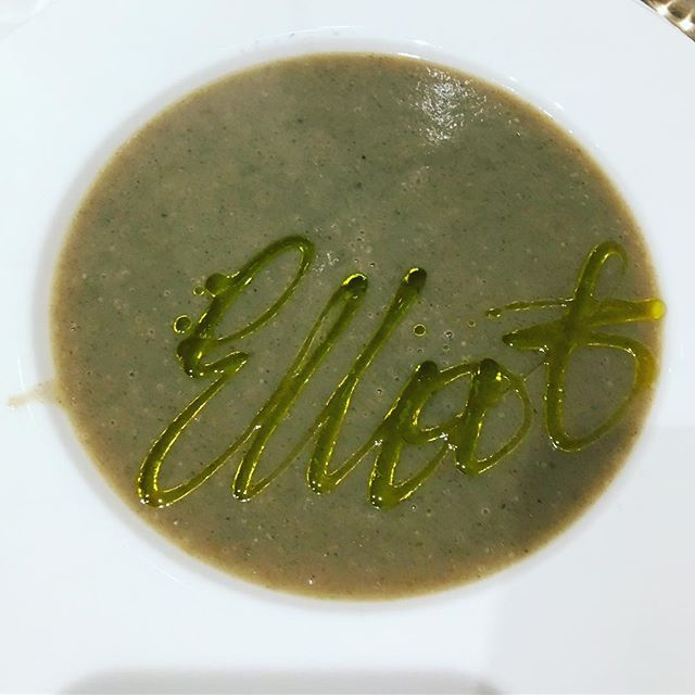 "Elliot's ""signature"" soup."
