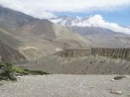 Blick in das Flusstal Richtung Kagbeni, das in den Kali Gandaki muendet