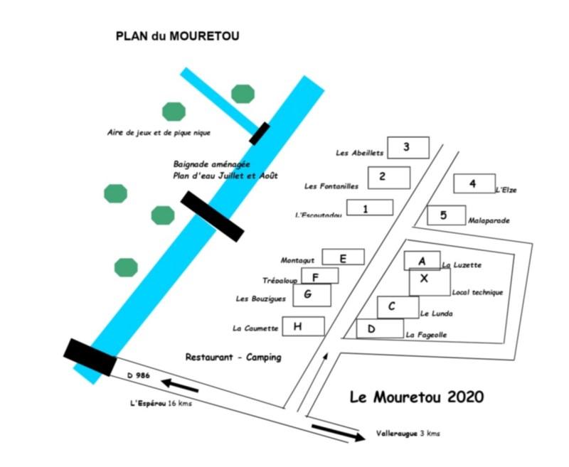 Plan d'implantation des gîtes du Mouretou