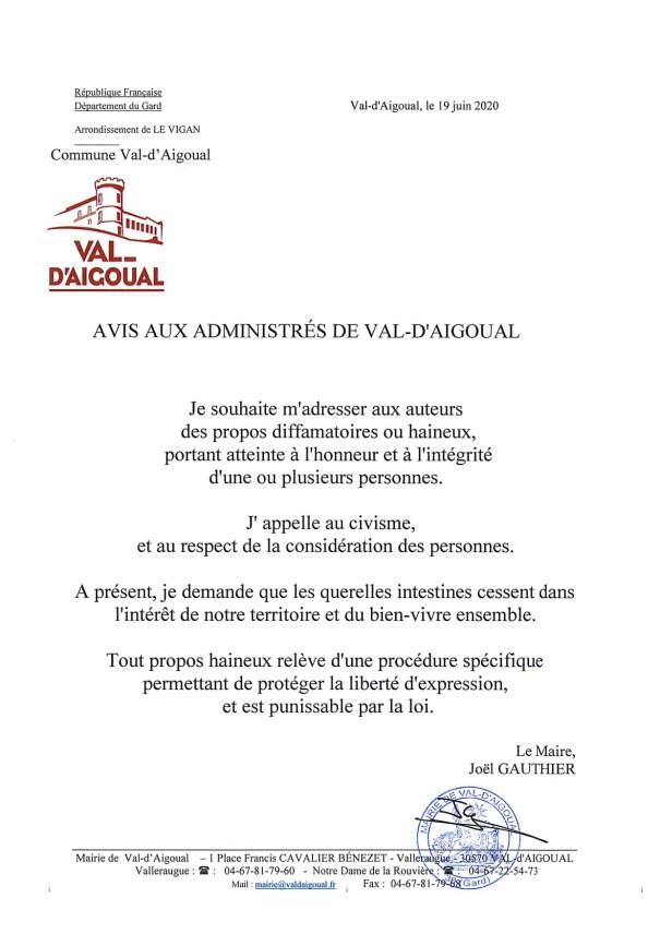 Déclaration de Joël Gauthier 19 06 20
