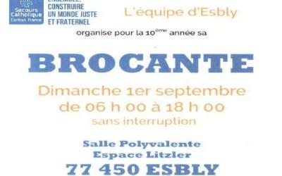 Esbly ► Brocante du secours catholique dimanche 1er septembre à l'espace Litzler