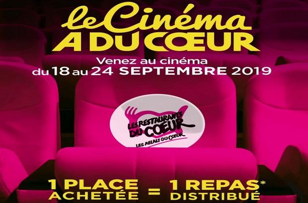 1 place de cinéma achetée, 1 repas offert par Les Restos du cœur du 18 au 24 septembre