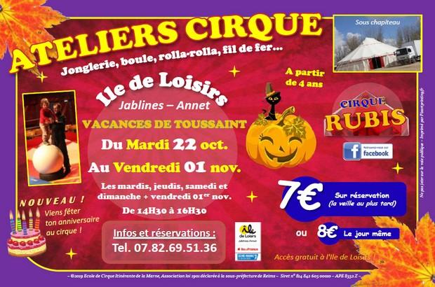 Atelier cirque sur l'Ile de Loisirs de Jablines-Annet lors des vacances de la Toussaint