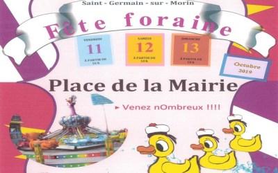 La fête foraine s'installe à Saint Germain sur Morin du 11 au 13 octobre