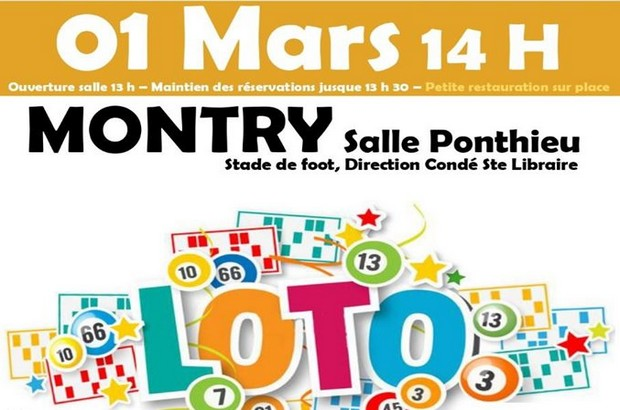2ème édition du Loto à la Salle Ponthieu de Montry le 1er Mars. Ambiance garantie !