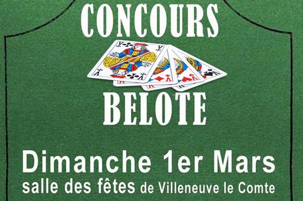 Concours de Belote est organisé à la Salle des Fêtes de Villeneuve-le-Comte le 1 mars