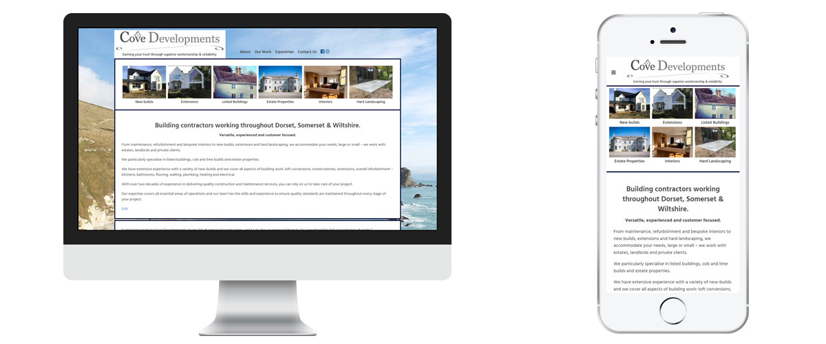 Cove Developments (Dorset) website by Vale Designs