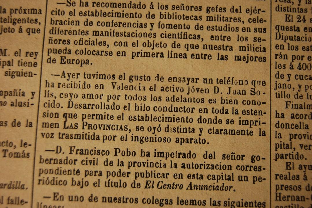 Noticia de Las Provincias del 20 de Enero de 1878. Fuente: fppuche.wordpress.com