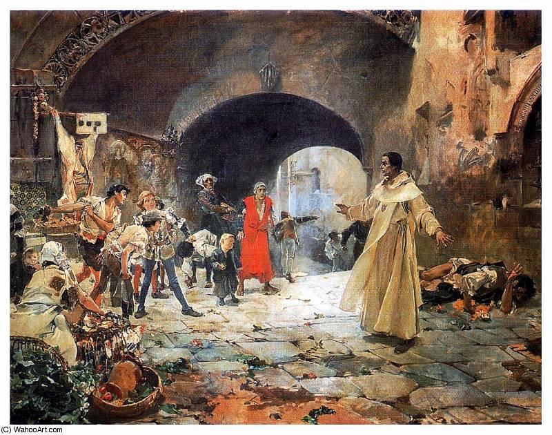 En 1887, Sorolla presentó como trabajo final de pensionado la pintura que representa a Fray Juan Gilabert Jofré amparando a un loco perseguido por unos muchachos, que le supuso una prórroga de la pensión. Fuente imagen: WahooArt.com