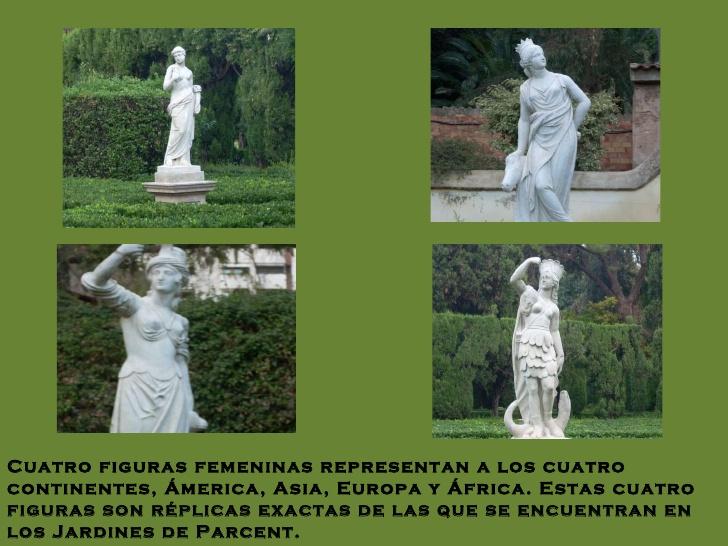 Imágenes de las 4 estatuas que están en los Jardines de Monforte a modo de réplica de las de Parcent. Fuente: claracan (SlideShare)