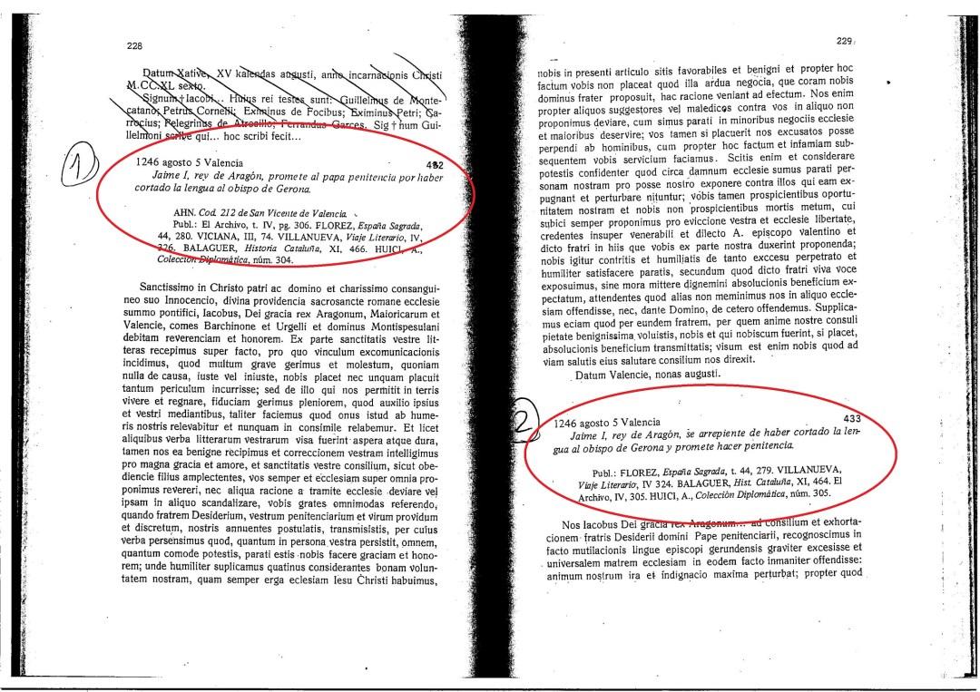 Fuente:  Ambrosio Huici Miranda. Documentos de Jaime I de Aragón. (1976) con Cabanes Pecourt, María Desamparados. Anubar Ediciones ISBN 84-7013-077-3 (3 tomos) (Editado por Huici originariamente entre 1916 y 1922)