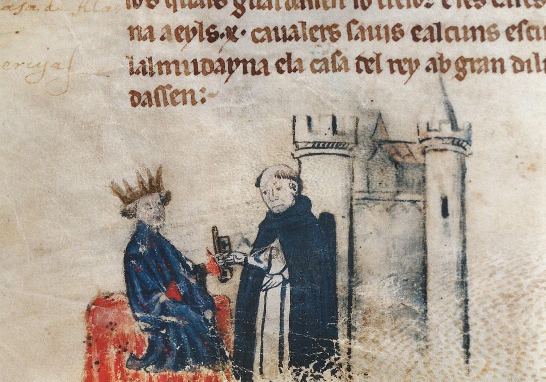 Jaume I con Fray Miquel Fabra, que durante el asedio de Jaime I a Medina Mayurqa, junto con otro predicador, Fray Berenguer de Castellbisbal, arengaban y bendecían a las tropas del Rey. Fuente: studiolum.com