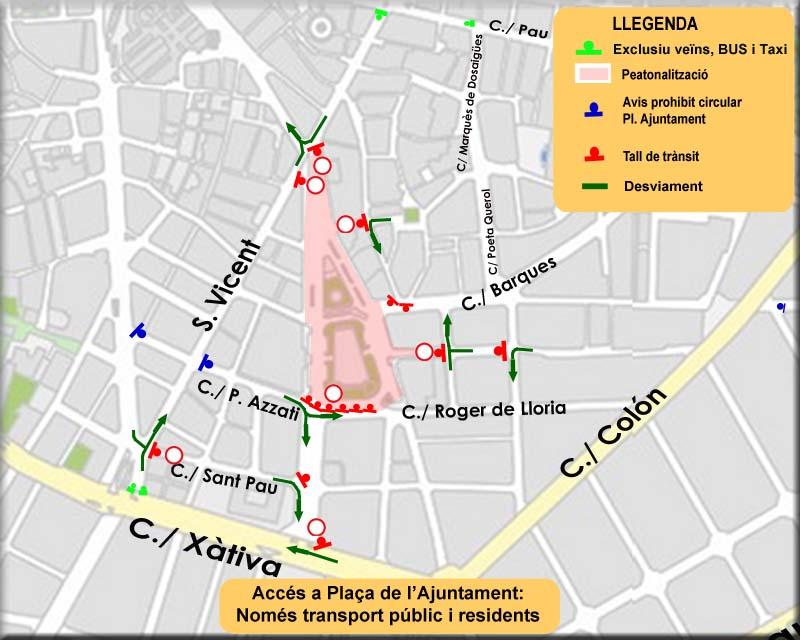 cortes de tráfico mercado ecológico plaza del Ayuntamiento. Top Valencia