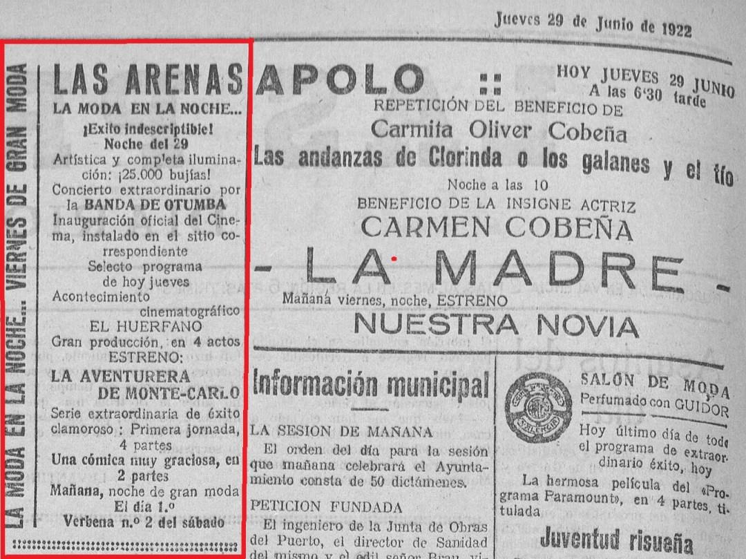 Anuncio que se publicó en 'Las Provincias justo al día siguiente de su inauguración: diario de Valencia: Año 57 Número 16439 - 1922 junio 29 (29/06/1922)