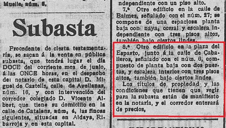 Publicación que aparece en 'Las Provincias : diario de Valencia: Año L Número 16065 - 1915 junio 1 (01/06/1915), y que hace referencia a la primera subasta que no tuvo comprador.
