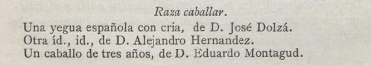 """Las Ferias y la Exposición de Ganado en Valencia, publicado en la """"Gaceta Agrícola del Ministerio de Fomento"""" (año 1880, tomo XVI, página 358)."""