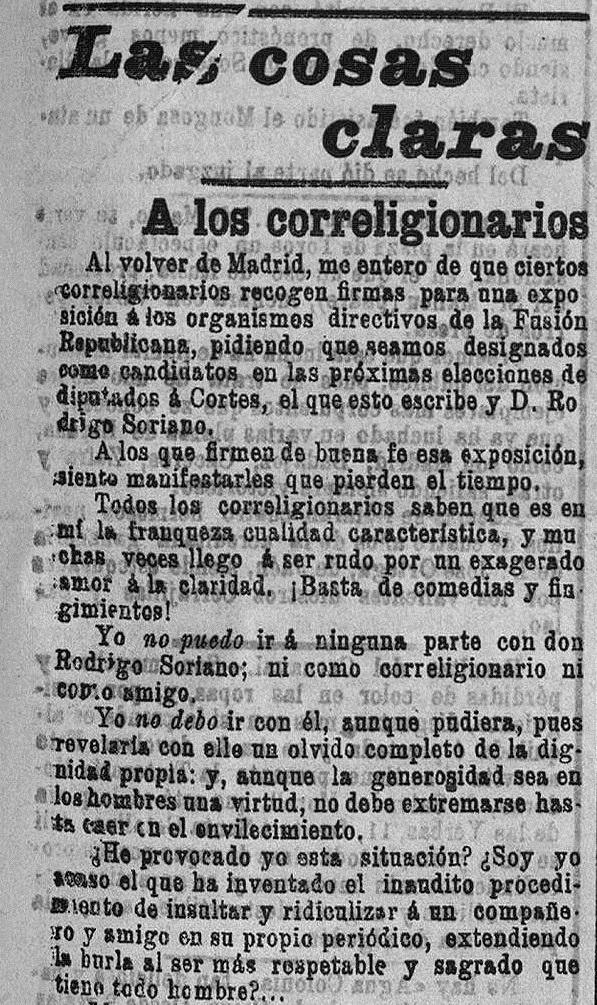 Fragmento de la contestación de Blasco Ibáñez. El Pueblo : diario republicano de Valencia (24/02/1903).
