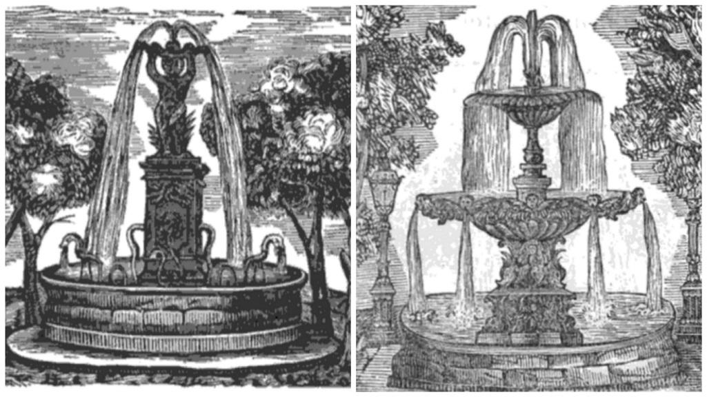 Grabados extraídos del Manual de Forasteros en Valencia, ó sea guía segura, Valencia – 1859. La imagen de la izquierda pertenece a la Fuente del Negrito, y la de la derecha, a la hoy dispuesta en La Alameda.