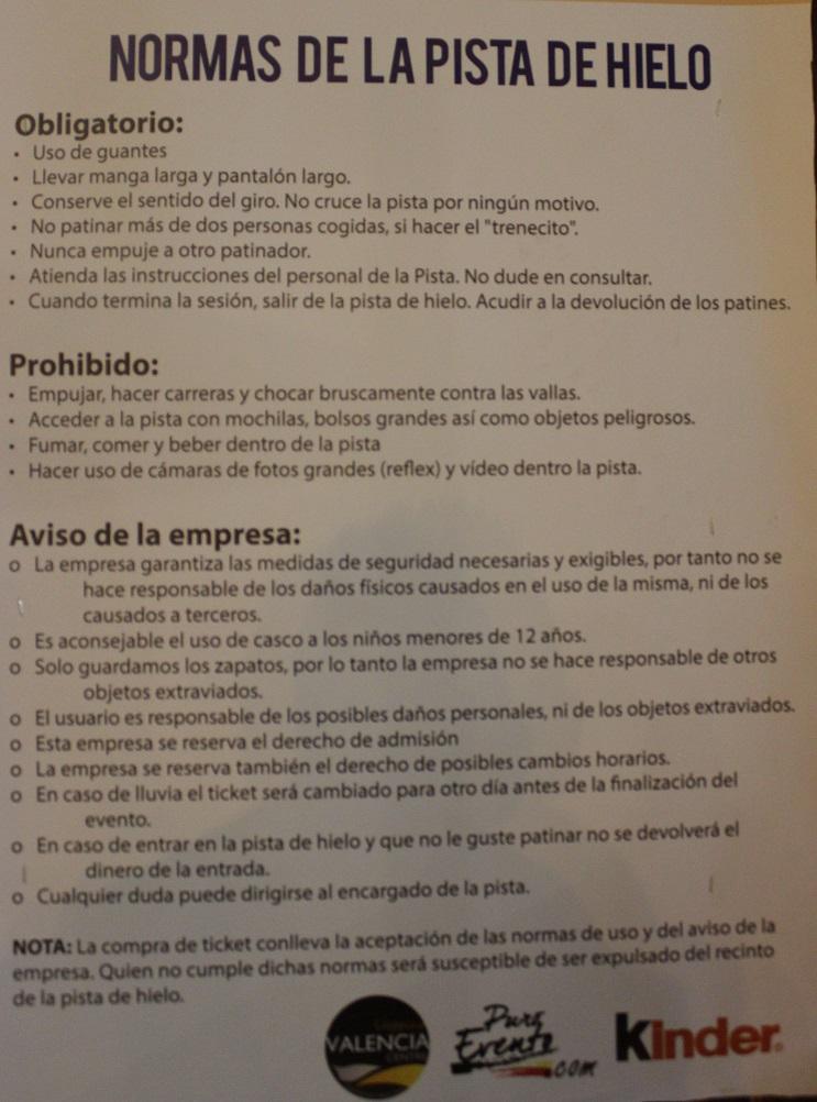 Normas funcionamiento Pista de Hielo Ayuntamiento Valencia