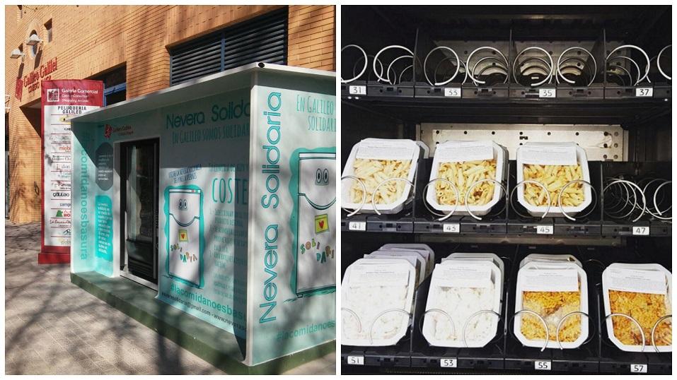 La nevera solidaria de Valencia: la máquina que regala comida que acabaría en la basura