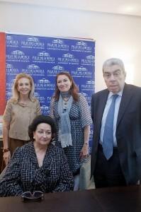 Montserrat Caballé, Mayrén Beneyto, Montserrat Martí y Ramón Almazán en la presentación del concierto