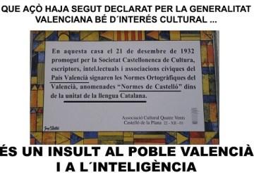 Cartel creado por Plataforma Valencianista en contra de las Normes de Castelló.