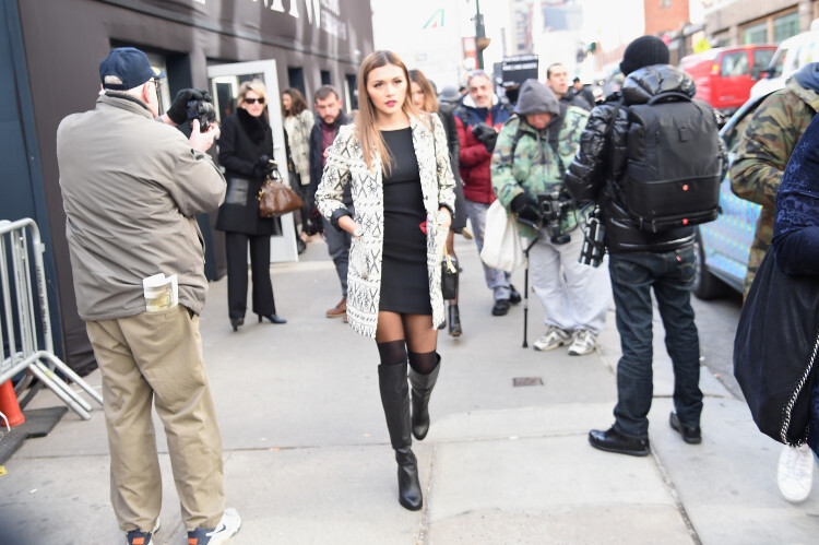 Street Style at Desigual fashion show during the Fall 2016 New York Fashion Week: The Shows at The Arc, Skylight at Moynihan Station on February 11, 2016 in New York City.