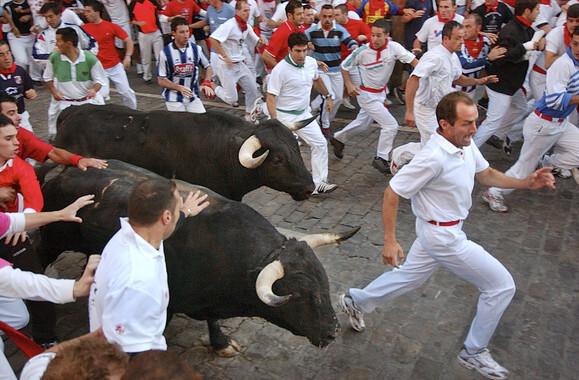 El riesgo en los encierros afecta tanto a corredores como a toros, siendo sus fuentes los astados, los mozos y el recorrido. / Gobierno de Navarra