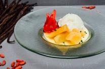Crema inglesa vegana con manzana en tres texturas_Restaurante Oslo