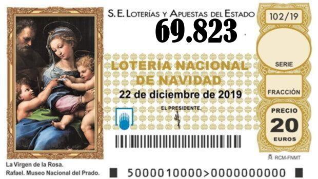 SÉPTIMO QUINTO PREMIO Nº 69.823 de la lotería de Navidad