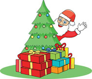 Santa with Presents Under the Tree