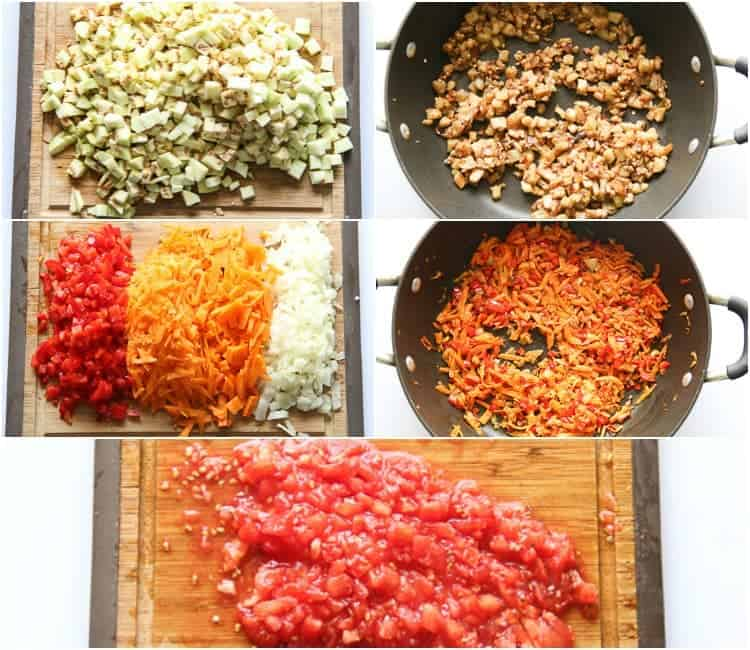 chopping ingredients and saute