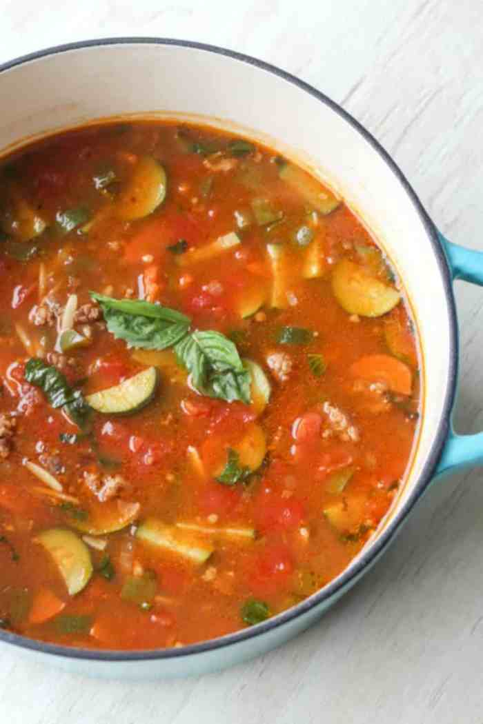 Italian Sausage, Orzo and Vegetable Soup. Comfort food. ValentinasCorner.com