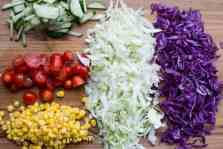 Cabbage Corn Cuces and Tomatoe Salad