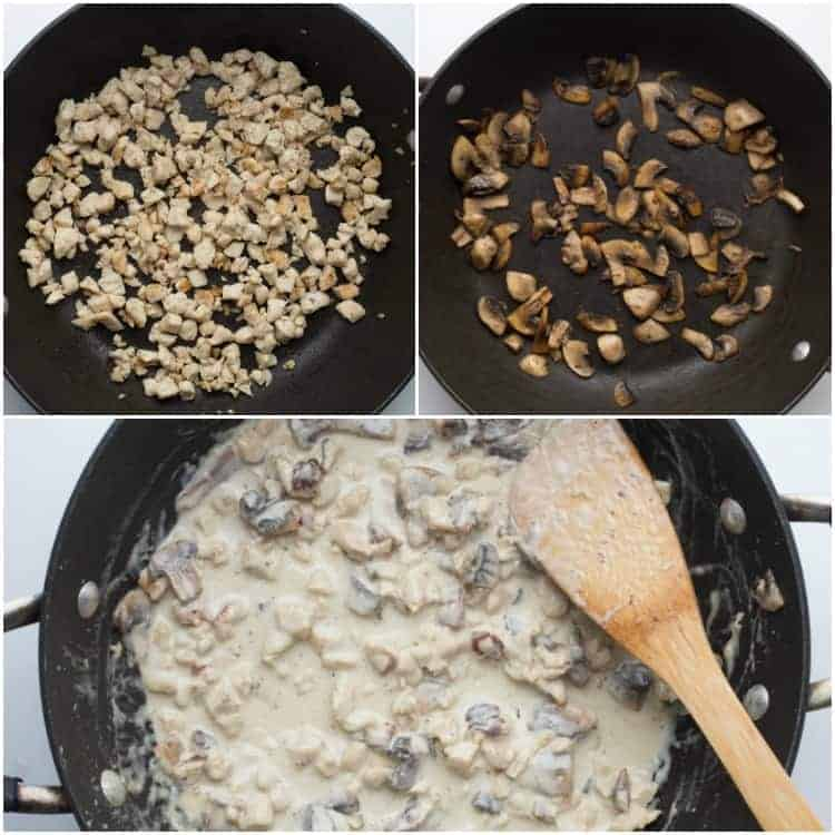 How to make the Alfredo sauce, cook the chicken and saute the mushrooms.
