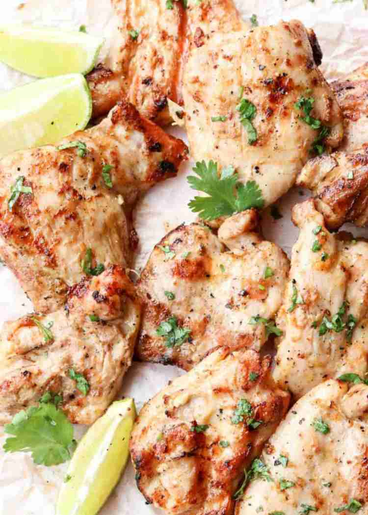 Tender Grilled Chicken Thighs Recipe with cilantro and lime.