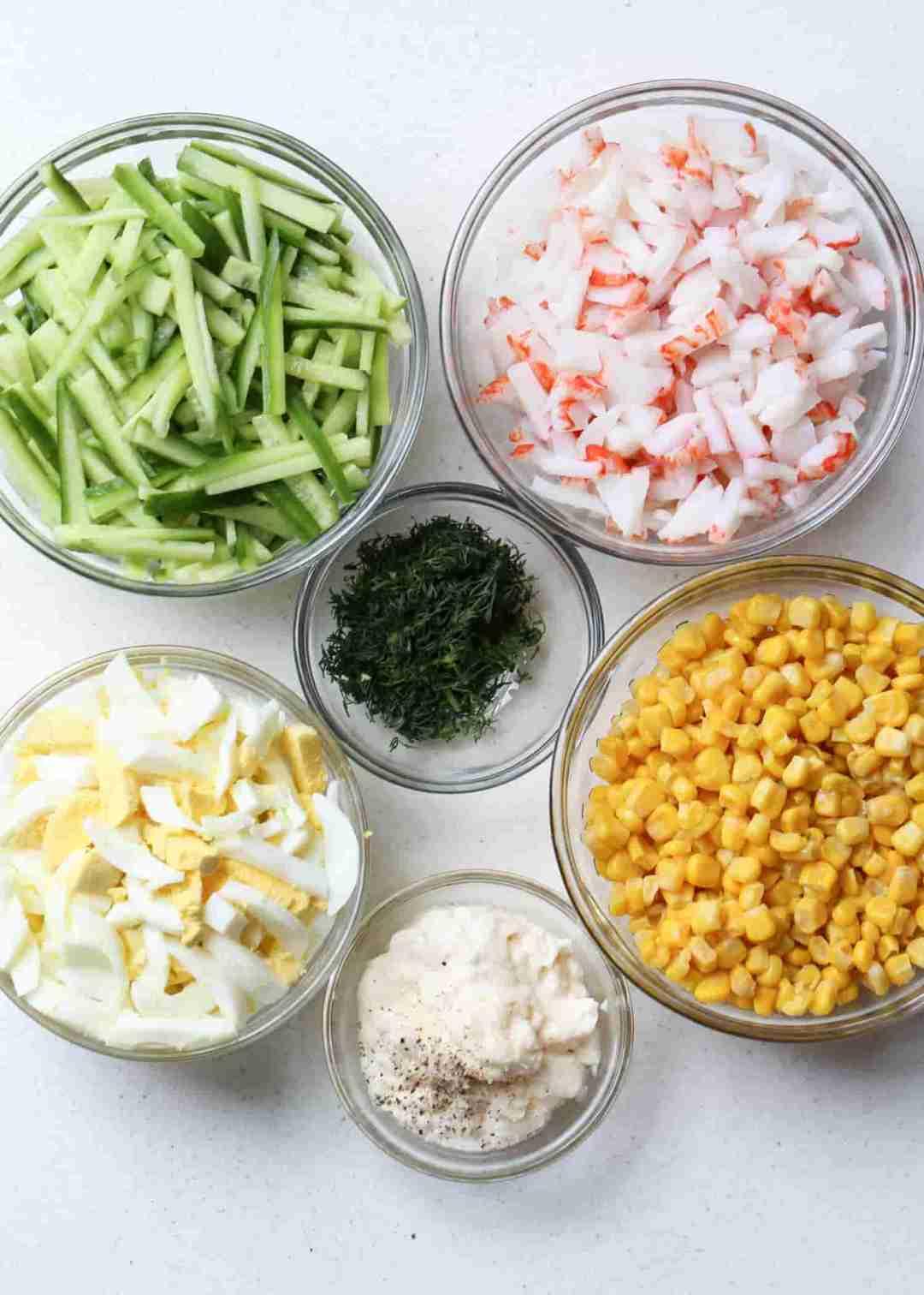 Ingredients for crab corn egg salad.