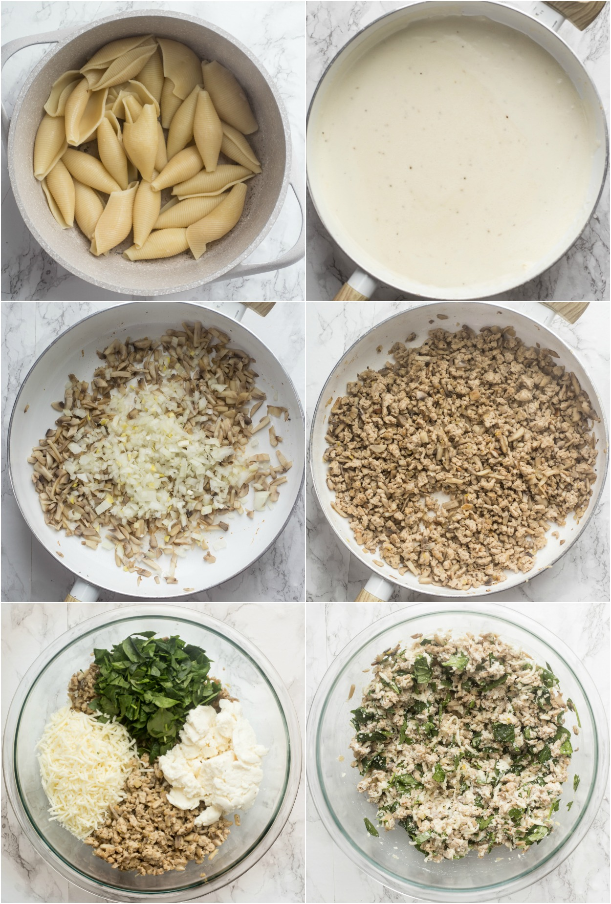 How to make chicken stuffed shells recipe. How to prepare the stuffing, shells, and Alfredo sauce.