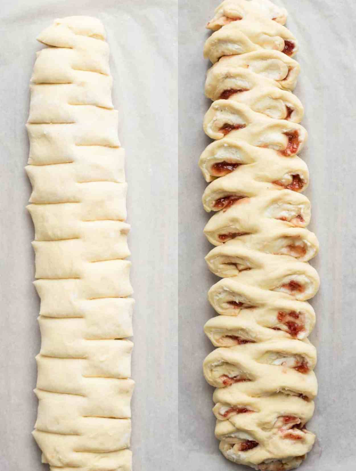 How to form this sweet bread recipe, cutting and arranging the bread with jam and cream cheese.