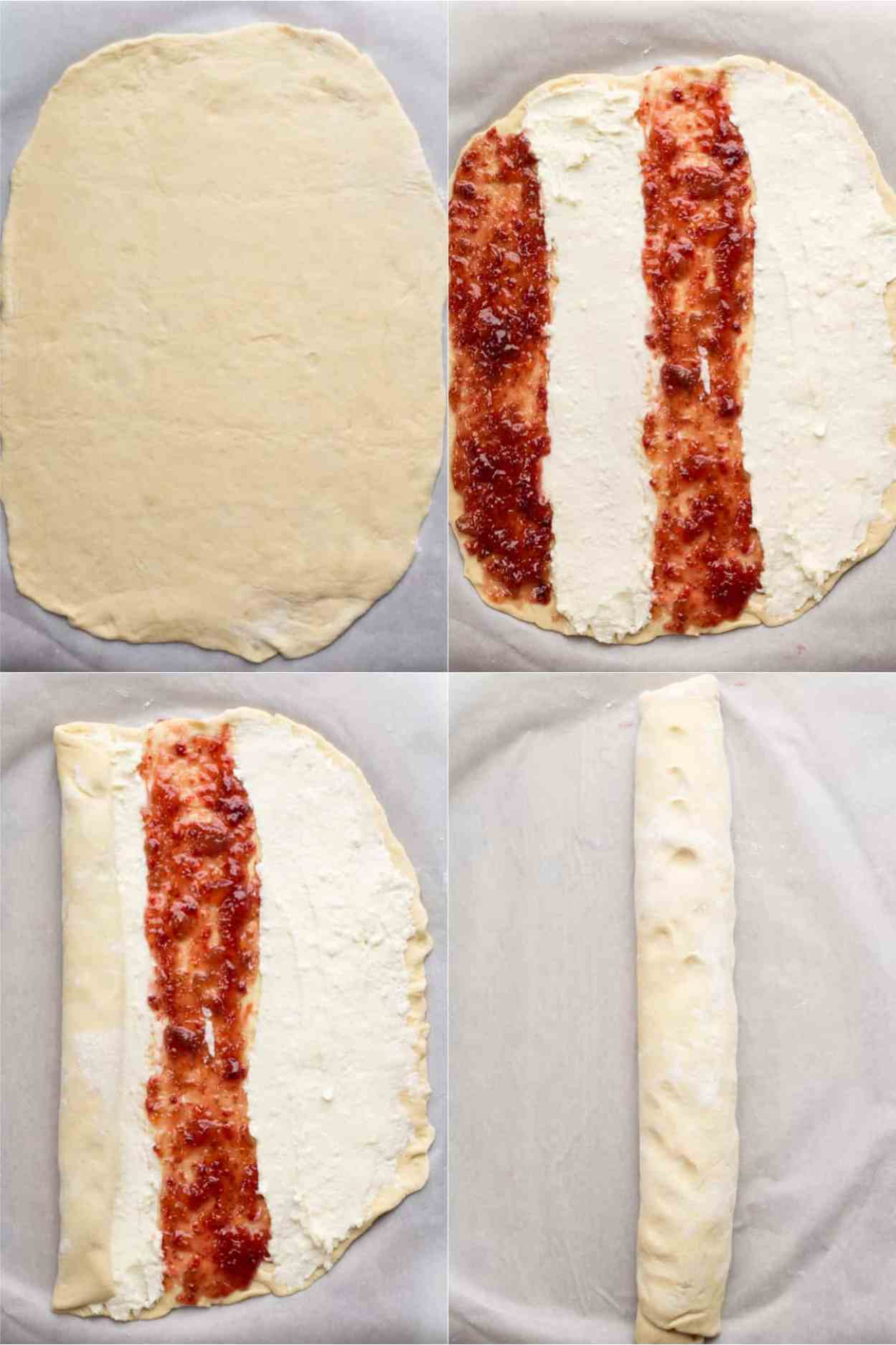 Step by step instructions. How to fill the sweet bread with cream cheese and jam.