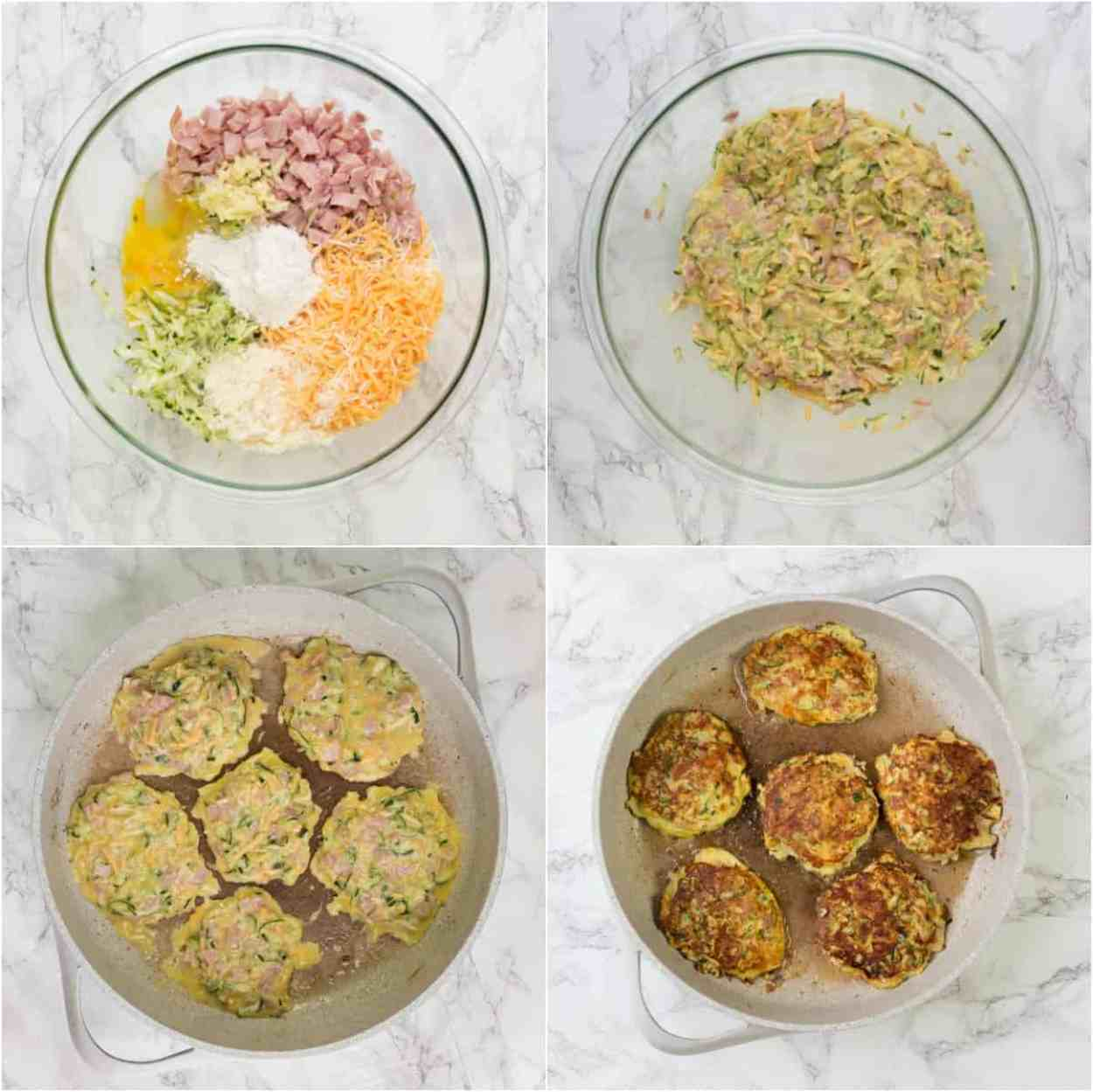 Recipe for how to make zucchini fritters with ham, cheese and eggs.