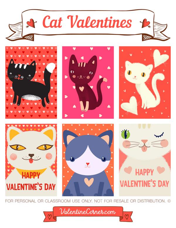 Printable Cat Valentines